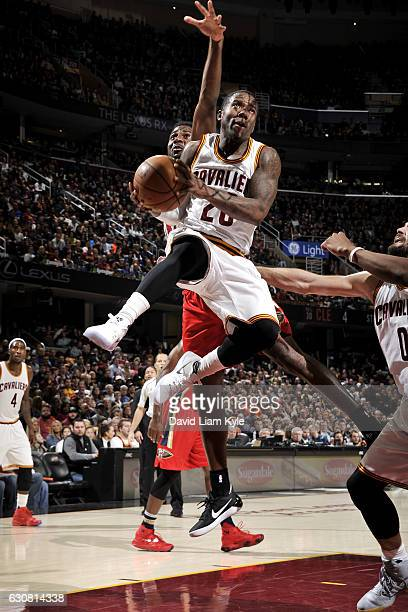 Kay Felder of the Cleveland Cavaliers goes to the basket during the game against the New Orleans Pelicans on January 2 2017 at Quicken Loans Arena in...