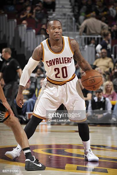 Kay Felder of the Cleveland Cavaliers handles the ball against the Phoenix Suns on January 19 2017 at Quicken Loans Arena in Cleveland Ohio NOTE TO...