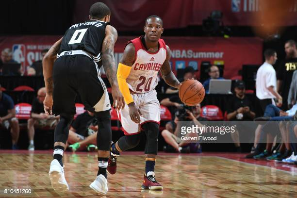 Kay Felder of the Cleveland Cavaliers handles the ball against the Milwaukee Bucks on July 7 2017 at the Thomas Mack Center in Las Vegas Nevada NOTE...