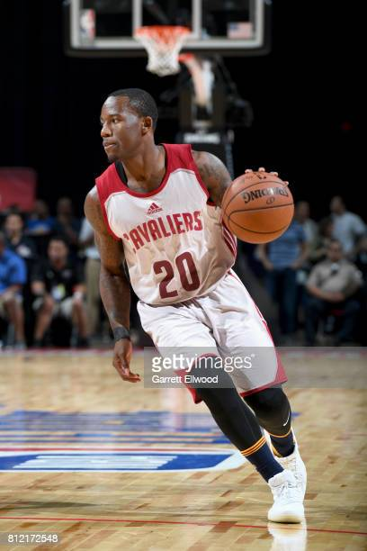 Kay Felder of the Cleveland Cavaliers handles the ball against the Golden State Warriors on July 10 2017 at the Thomas Mack Center in Las Vegas...
