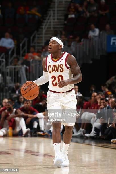 Kay Felder of the Cleveland Cavaliers handles the ball against the Chicago Bulls during a preseason game on October 10 2017 at Quicken Loans Arena in...