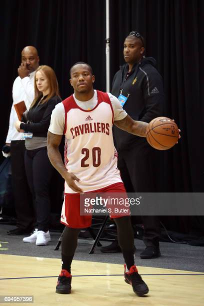 Kay Felder of the Cleveland Cavaliers handles the ball during practice and media availability as part of the 2017 NBA Finals on June 11 2017 at...
