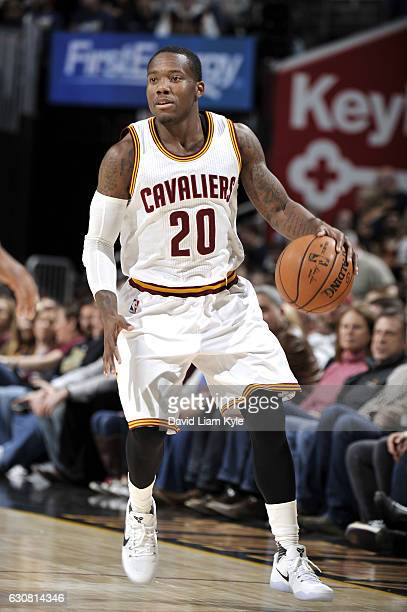 Kay Felder of the Cleveland Cavaliers handles the ball during the game against the New Orleans Pelicans on January 2 2017 at Quicken Loans Arena in...