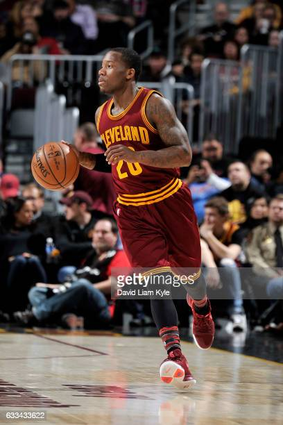 Kay Felder of the Cleveland Cavaliers handles the ball during the game against the Minnesota Timberwolves on February 1 2017 at Quicken Loans Arena...