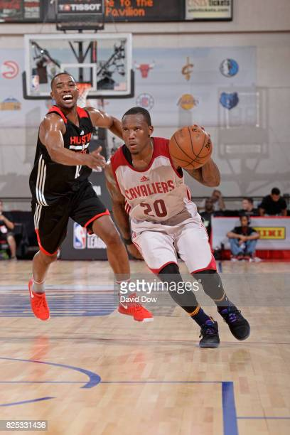 Kay Felder of the Cleveland Cavaliers handles the ball during the game against the Houston Rockets during the 2017 Las Vegas Summer League on July 8...