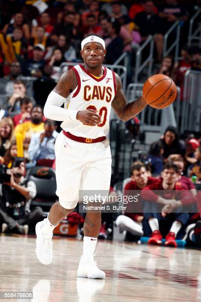 Kay Felder of the Cleveland Cavaliers handles the ball during the preseason game against the Indiana Pacers on October 6 2017 at Quicken Loans Arena...