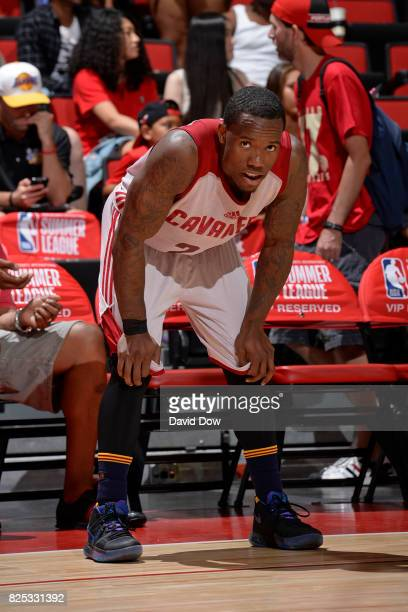 Kay Felder of the Cleveland Cavaliers looks on during the game against the Houston Rockets during the 2017 Las Vegas Summer League on July 8 2017 at...
