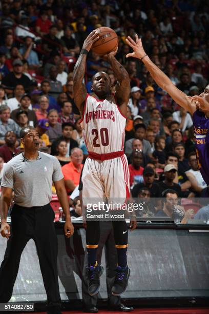 Kay Felder of the Cleveland Cavaliers shoots the ball against the Los Angeles Lakers on July 13 2017 at the Thomas Mack Center in Las Vegas Nevada...