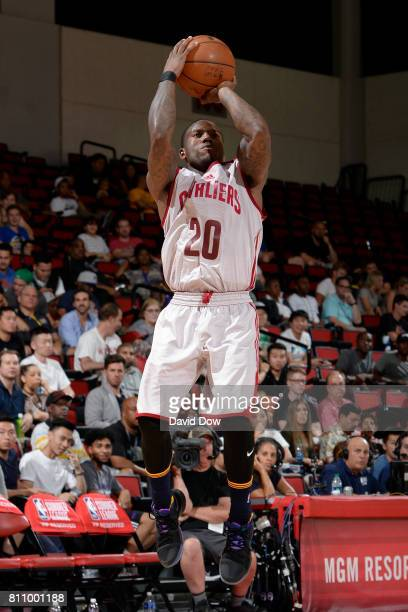 Kay Felder of the Cleveland Cavaliers shoots the ball against the Houston Rockets during the 2017 Las Vegas Summer League on July 8 2017 at the Cox...