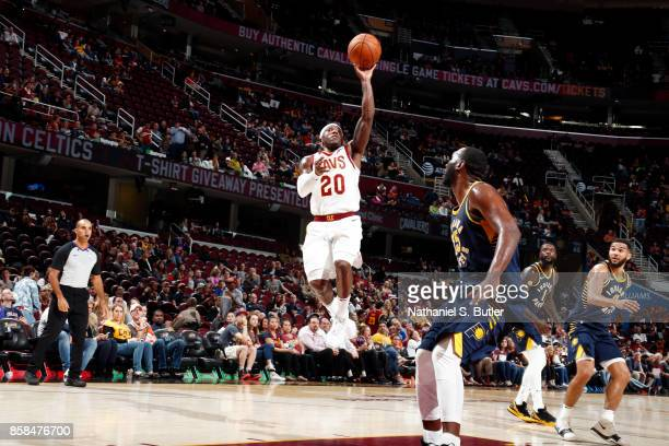 Kay Felder of the Cleveland Cavaliers shoots the ball during the preseason game against the Indiana Pacers on October 6 2017 at Quicken Loans Arena...