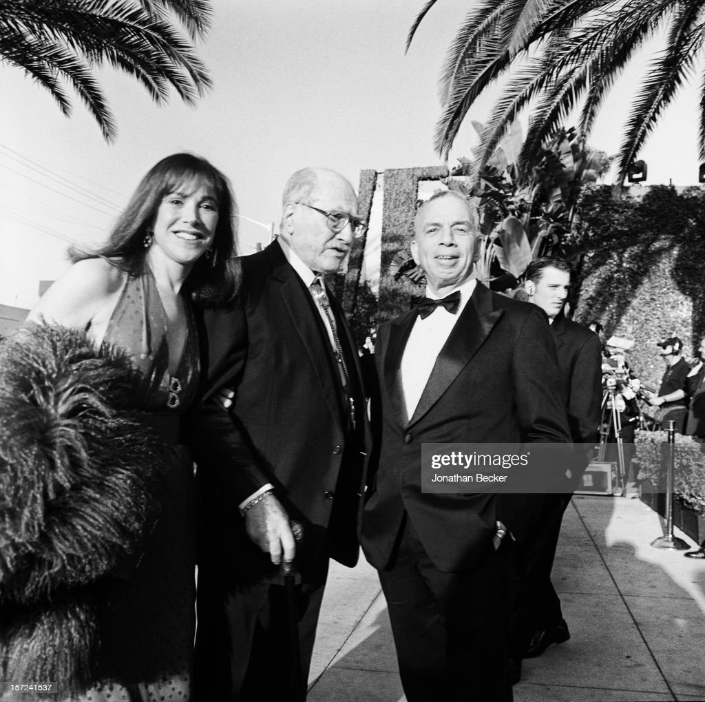 Kay Pick (longtime friend of Artie Shaw), composer Artie Shaw and chairman and CEO of Advance Publications, S.I. Newhouse Jr. are photographed for Vanity Fair Magazine on March 21, 1999 in at Morton's West Hollywood, California. PUBLISHED