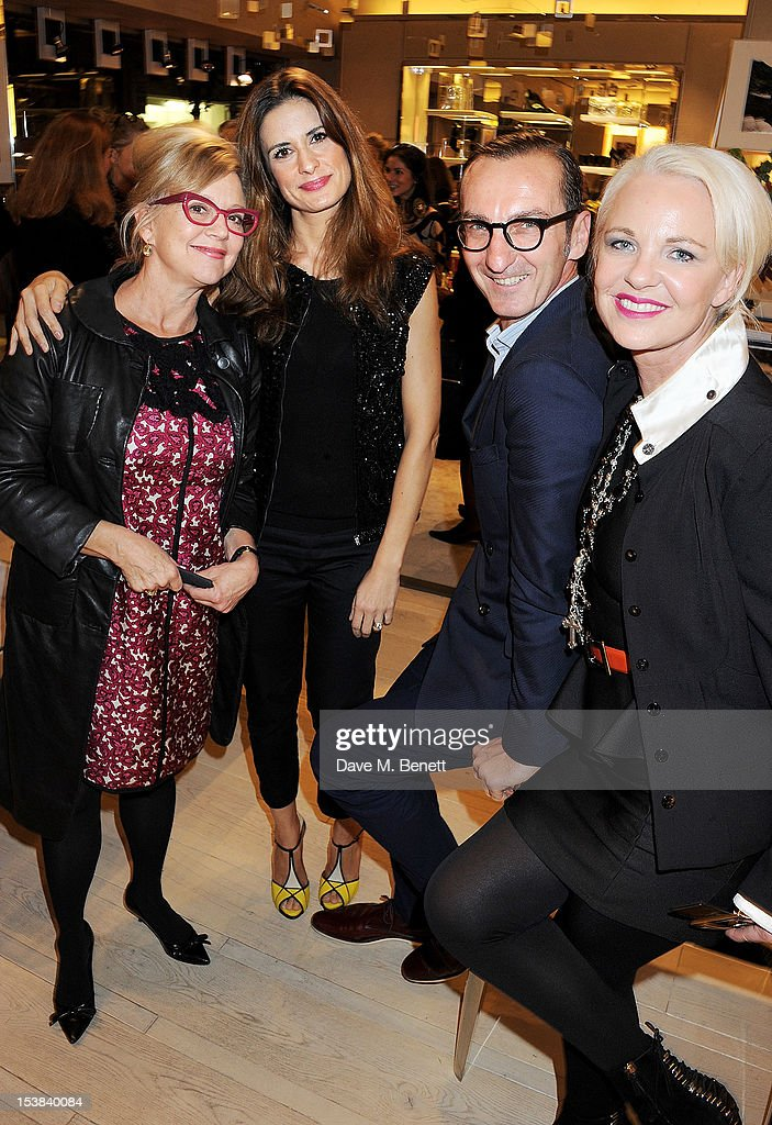 Kay Saatchi Livia Firth Roger Vivier artistic director Bruno Frisoni and Amanda Eliasch attend the Roger Vivier Prismick A/W 2012 Exhibition at the...