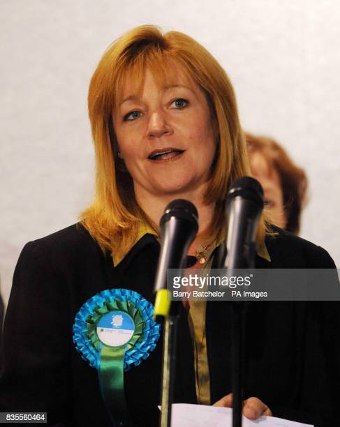 Kay Swinburne Conservative MEP speaks following the results of the European Parliamentary Elections at Haverfordwest