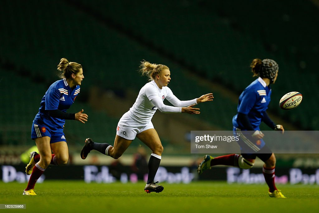 Kay Wilson of England passes during the Women's RBS Six Nations match between England and France at Twickenham Stadium on February 23, 2013 in London, England.