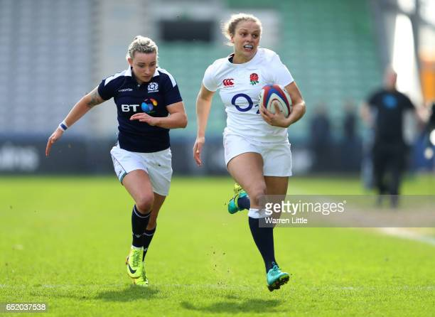Kay Wilson of England runs in her team's second try during the Women's Six nations match between England and Scotland at the Twickenham Stoop on...