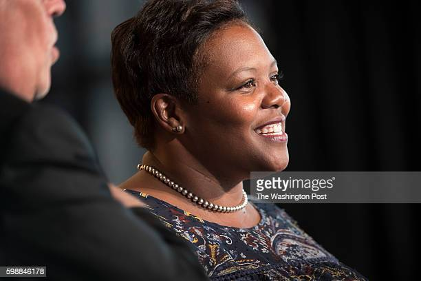 Kaya Henderson DC school chancellor and Georgetown University board member at a gathering to announce atonements for the school's 19th century...