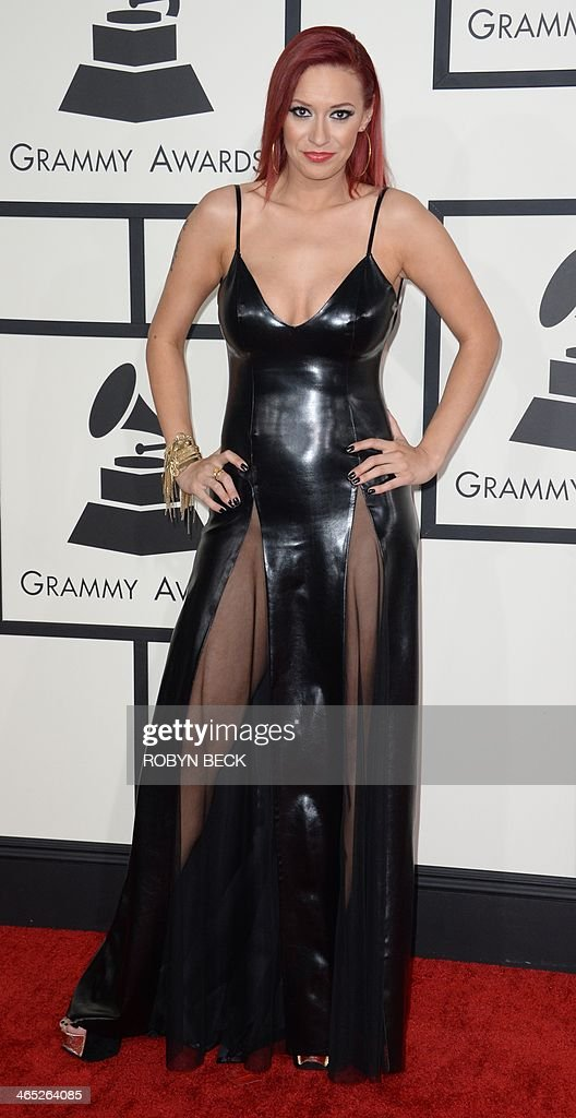 Kaya Jones arrives on the red carpet for the 56th Grammy Awards at the Staples Center in Los Angeles, California, January 26, 2014.