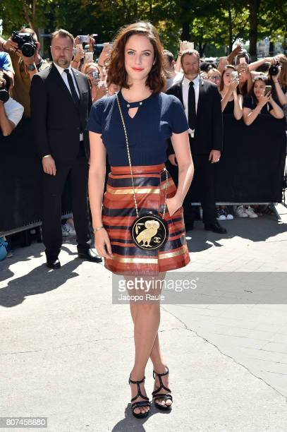 Kaya Scodelario is seen arriving at the 'Chanel' show during Paris Fashion Week Haute Couture Fall/Winter 20172018 on July 4 2017 in Paris France