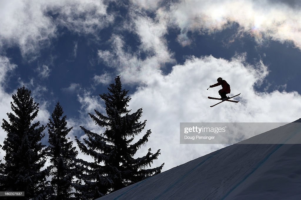 Kaya Turski take a practice run prior to the Women's Ski Slopestyle Final at Winter X Games Aspen 2013 at Buttermilk Mountain on January 27, 2013 in Aspen, Colorado.