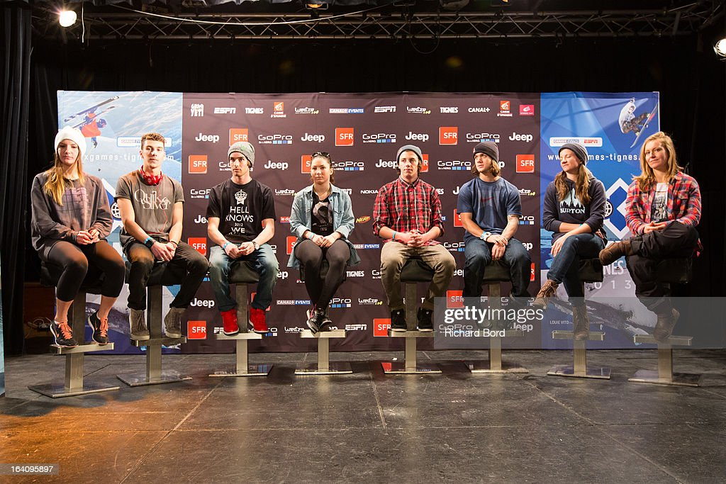 Kaya Turski, Thomas Krief, Kevin Rolland, Anais Caradeux, Mark McMorris, Louie Vito, Kelly Clark and Jamie Anderson attend the press conference at Hotel Diva during day two of Winter X Games Europe 2013 on March 19, 2013 in Tignes, France.