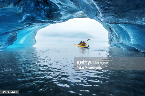 Kayak in ice cave