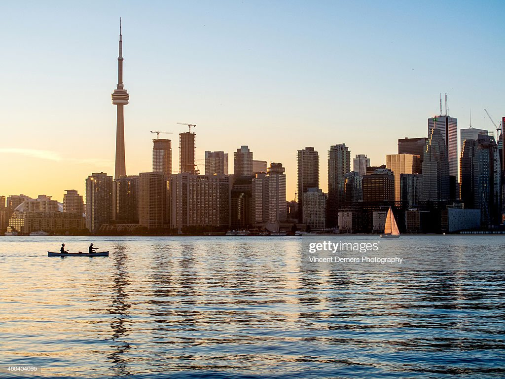 Kayak on Ontario Lake by Toronto's skyline