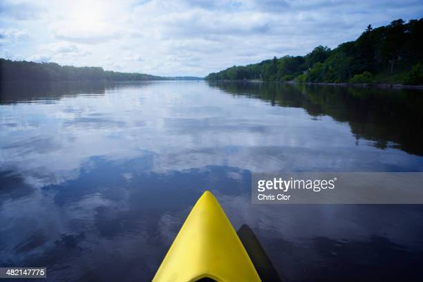 Kayak on still calm lake, Albany, New York, United States