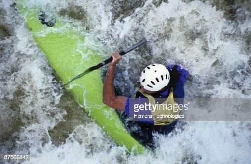 Kayaker in rapids of Petawawa River in Ontario, Canada : Stock Photo