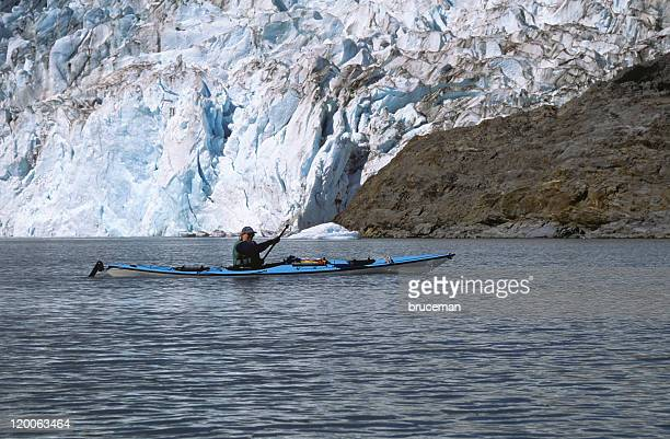 Kayaker Near Glacier