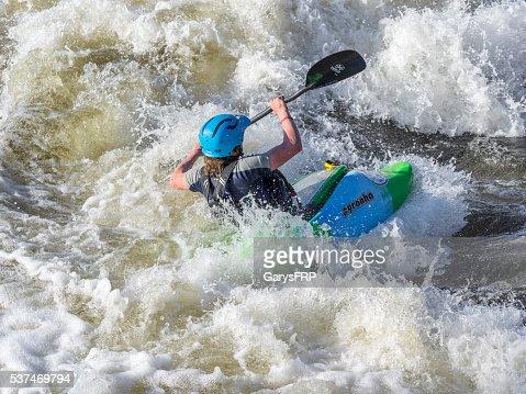 Kayaker on Deschutes River Bend Whitewater Park Bend Oregon