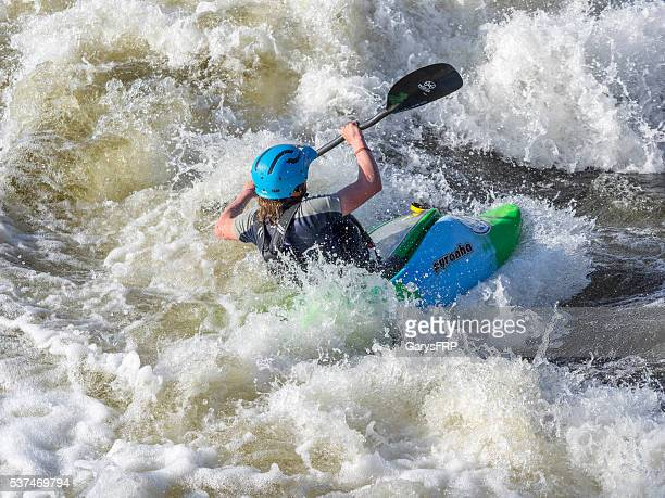 Kayaker on Deschutes River Bend Whitewater Park Bend Oregon