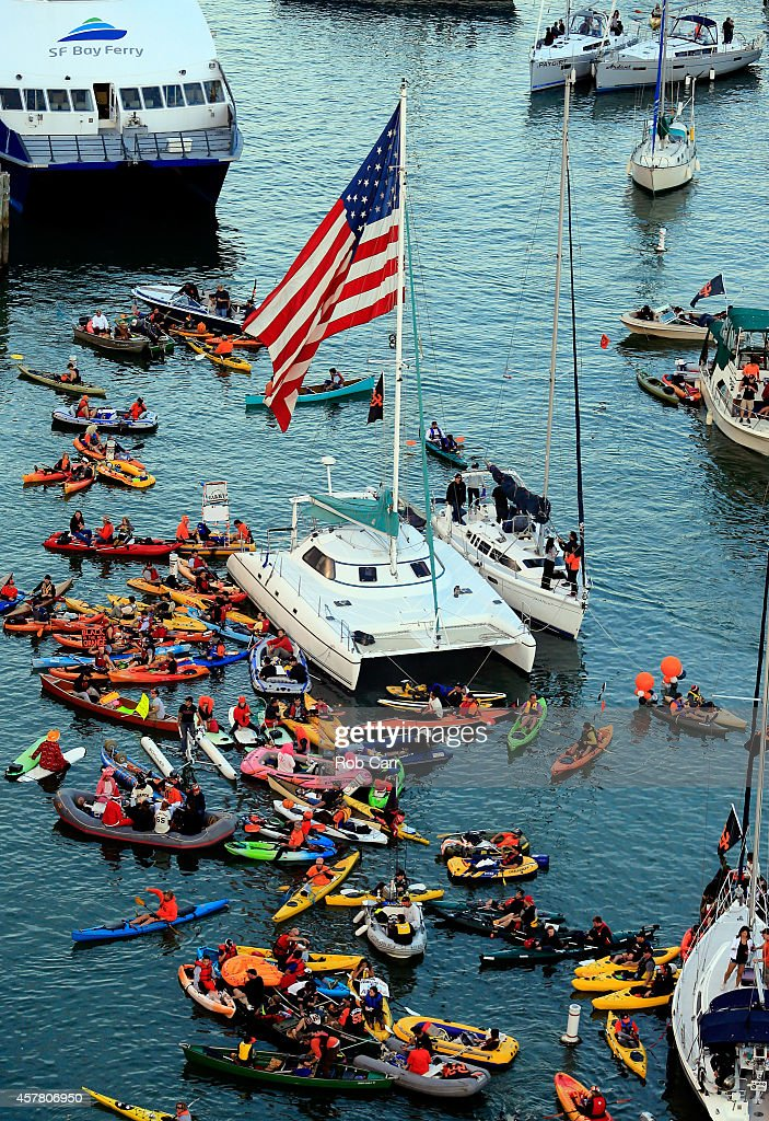 Kayakers and boats are seen in McCovey Cove as the San Francisco Giants take on the Kansas City Royals in Game Three of the 2014 World Series at ATT...