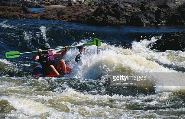 Kayaking down Zambezi river, near Victoria Falls.
