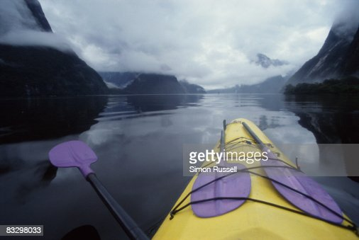 Kayaking in Milford Sound, New Zealand : Stock Photo