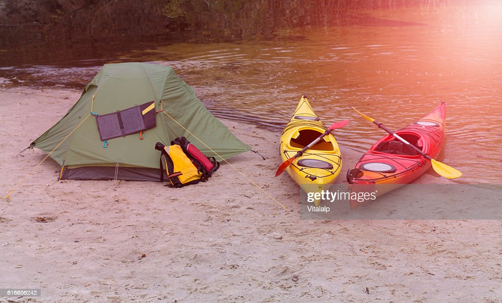 Kayaking on the river. : Stock Photo