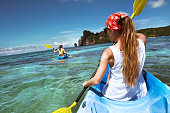 Kayaking tour with two ladies at Phi-Phi Don, Krabi province, Thailand