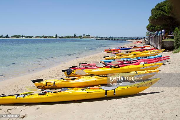 Kayaks hauled up on the beach limestone reefs rocks and islets support a rich diversity and abundance of marine and terrestrial wildlife making the...