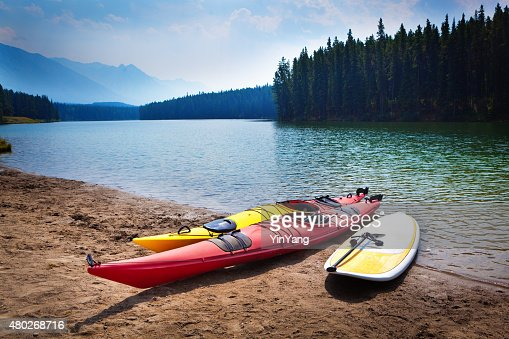 Kayaks Paddle Board in Johnson Lakes of Banff National Park