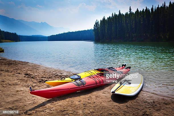 Kayaks Paddle Board in Johnson Lakes of Banff National Park