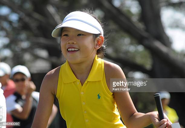 Kaydence Kim participates in the putting contest for girls 79 category during a regional round of the Drive Chip and Putt Championship at Torrey...