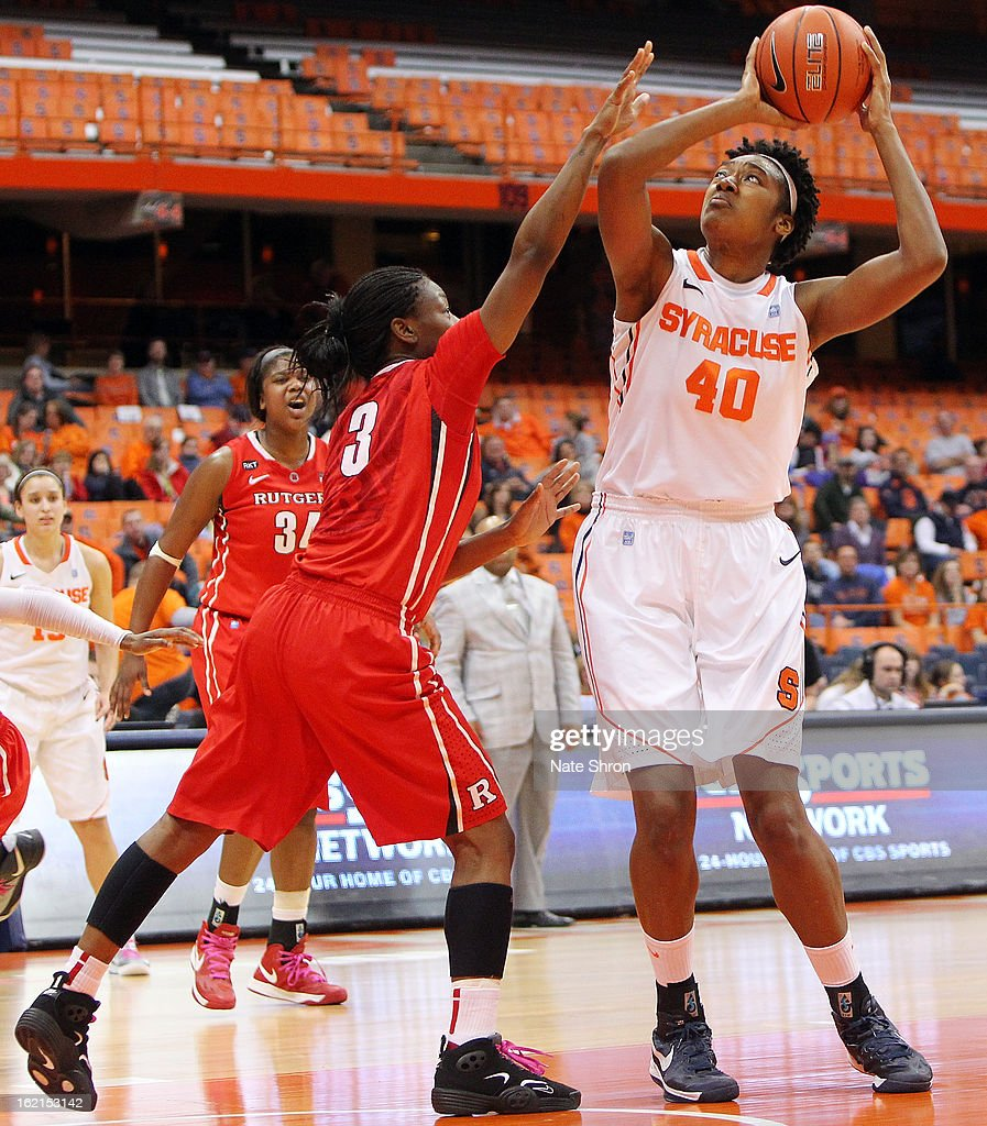 Kayla Alexander #40 of the Syracuse Orange preparest to shoot the ball against Erica Wheeler #3 of the Rutgers Scarlet Knights during the game at the Carrier Dome on February 19, 2013 in Syracuse, New York.