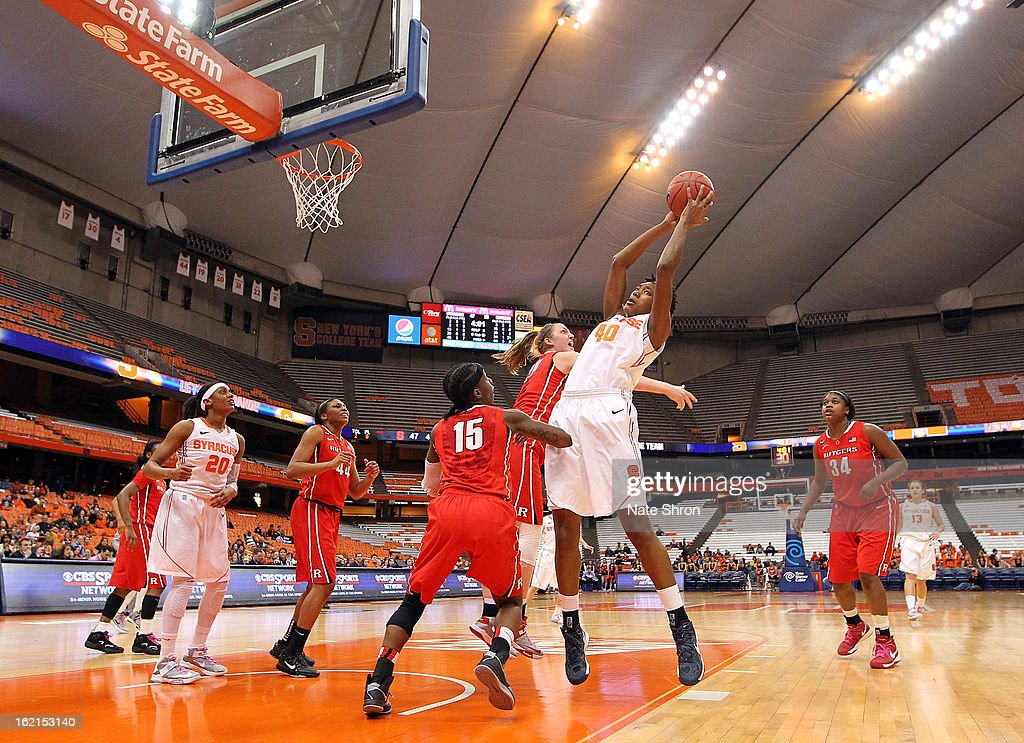 Kayla Alexander #40 of the Syracuse Orange reaches for the rebound against Syessence Davis #15 of the Rutgers Scarlet Knights during the game at the Carrier Dome on February 19, 2013 in Syracuse, New York.
