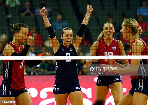 Kayla Banwarth Courtney Thompson Jordan LarsonBurbach and Christa Harmotto Dietzen celebrate after a point during the final round match against China...