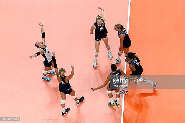 Kayla Banwarth Karsta Lowe Alisha Glass Rachael Adams Jordan LarsonBurbach and Kimberly Hill of United States celebrate winning the third set during...