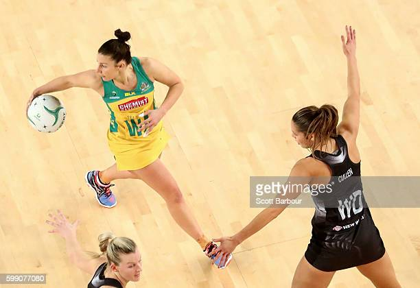 Kayla Cullen of the Silver Ferns and Madi Robinson of the Diamonds compete for the ball during the International Test match between the Australian...
