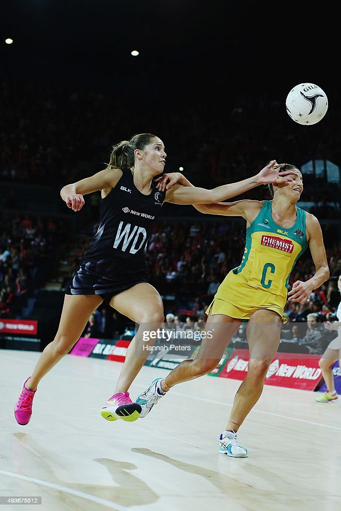 Kayla Cullen of the Silver Ferns competes with Kimberley Ravaillion of Australia for the ball during the International Netball Test Match between the...