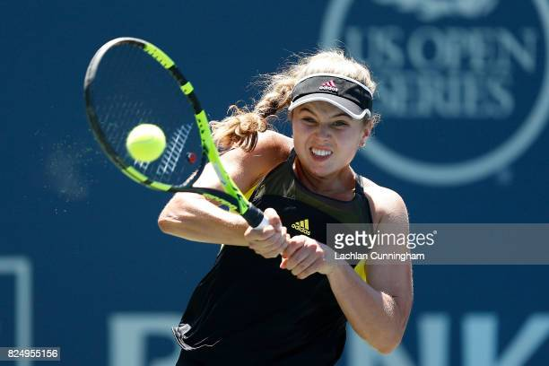 Kayla Day of the United States competes against Misaki Doi of Japan during day 1 of the Bank of the West Classic at Stanford University Taube Family...