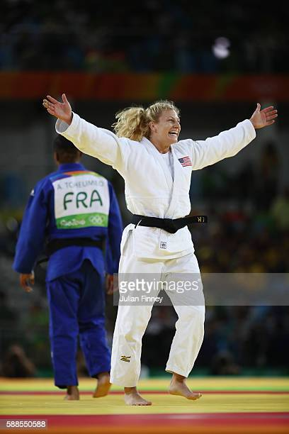 Kayla Harrison of the United States defeats Audrey Tcheumeo of France during the women's 78kg gold medal judo contest on Day 6 of the 2016 Rio...