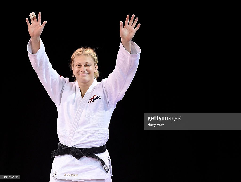 <a gi-track='captionPersonalityLinkClicked' href=/galleries/search?phrase=Kayla+Harrison&family=editorial&specificpeople=7179048 ng-click='$event.stopPropagation()'>Kayla Harrison</a> of the United States of America celebrates her gold medal win over Mayra Aguiar of Brazil in the minus 100kg judo gold medal match during the 2015 Pan Am games at the Mississauga Sports Centre on July 14, 2015 in Toronto, Canada.