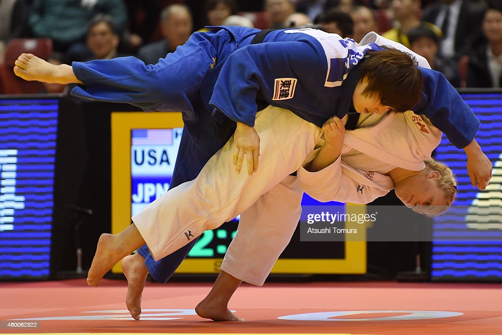 Kayla Harrisson of the USA (White) and <a gi-track='captionPersonalityLinkClicked' href=/galleries/search?phrase=Akari+Ogata&family=editorial&specificpeople=6583429 ng-click='$event.stopPropagation()'>Akari Ogata</a> of Japan (Blue) compete in Women's -78kg during Judo Grand Slam Tokyo 2014 at Tokyo Metropolitan Gymnasium on December 7, 2014 in Tokyo, Japan.